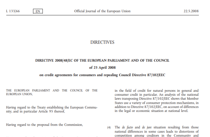 Revision of the Consumer Credit Directive