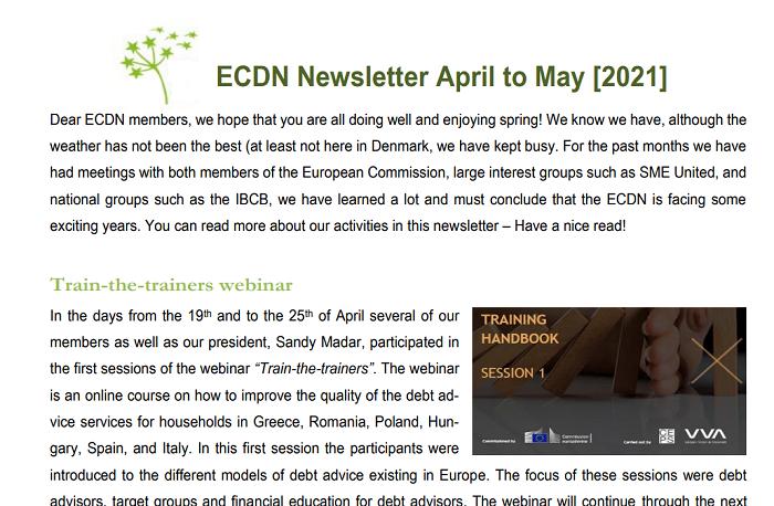 The 2021 spring newsletter of the ECDN